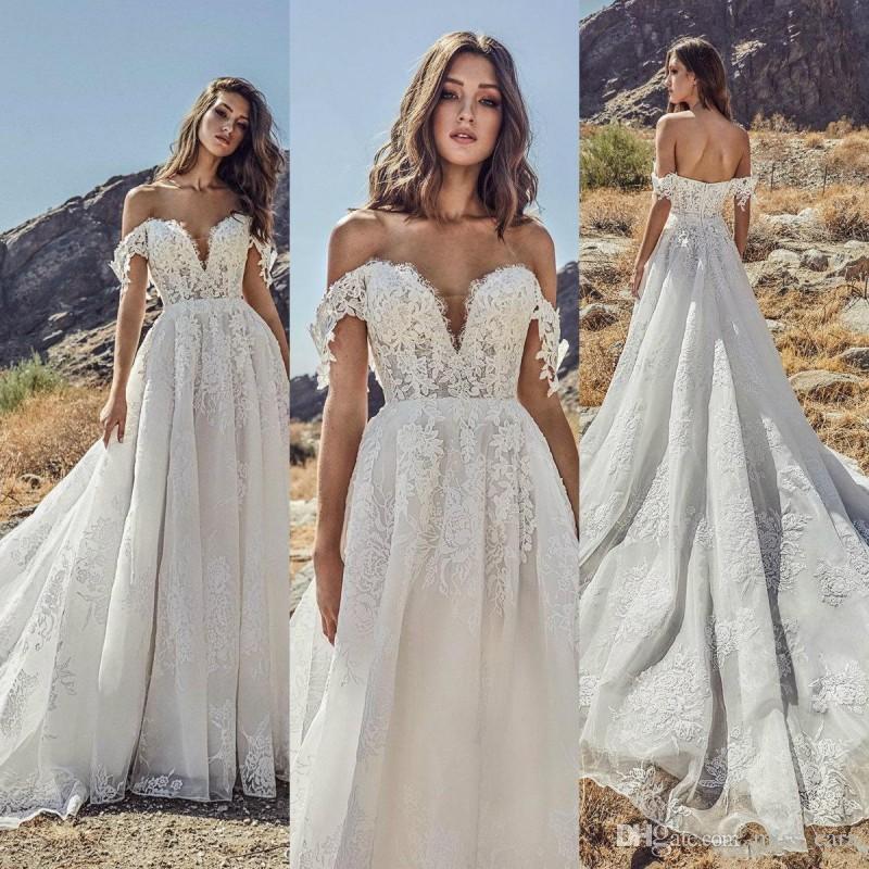 8786b49206369 2019 Beach Wedding Dresses Off Shoulder Lace Applique Country Sweep Train  Bridal Gowns Off the Shoulder Plus Size Bohemian Vestido De Novia