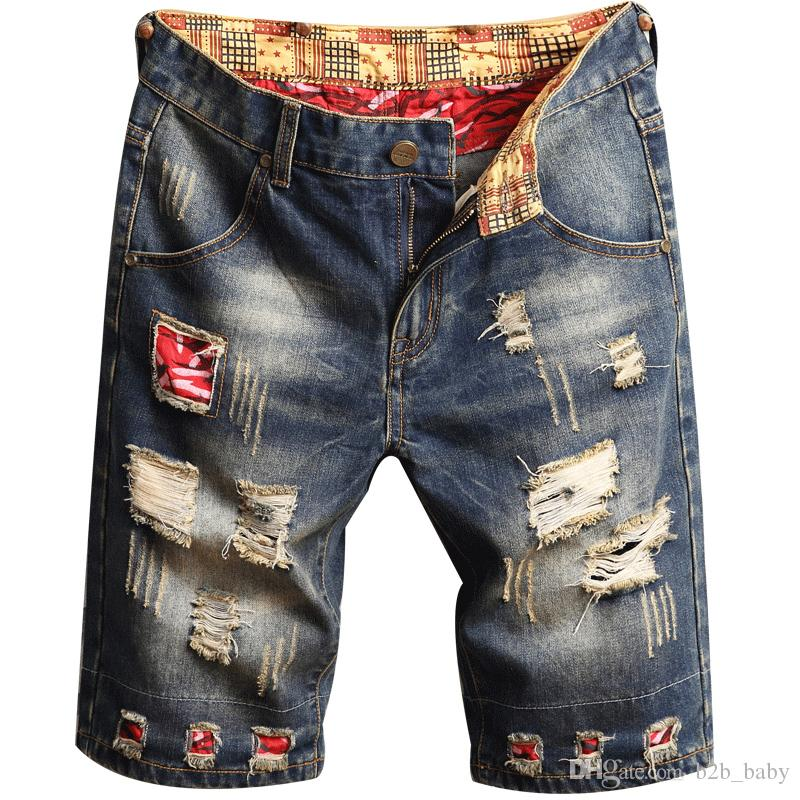 68b493daf8 Men Denim Patch Jeans Shorts Hole Wash Pants Simple Casual Comfortable Male  Destroyed Hip Pop Short Jeans AAA1967 White Girls In Shorts Spandex Shorts  For ...
