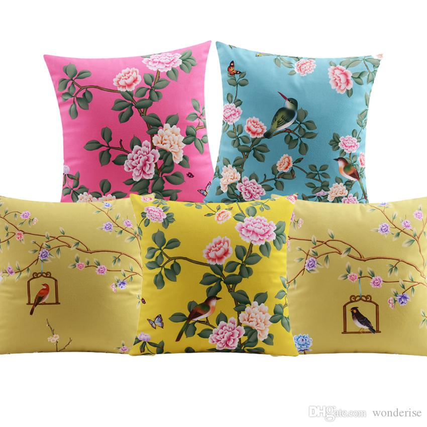 Birds And Flowers Cushion Covers Chinese Style Floral