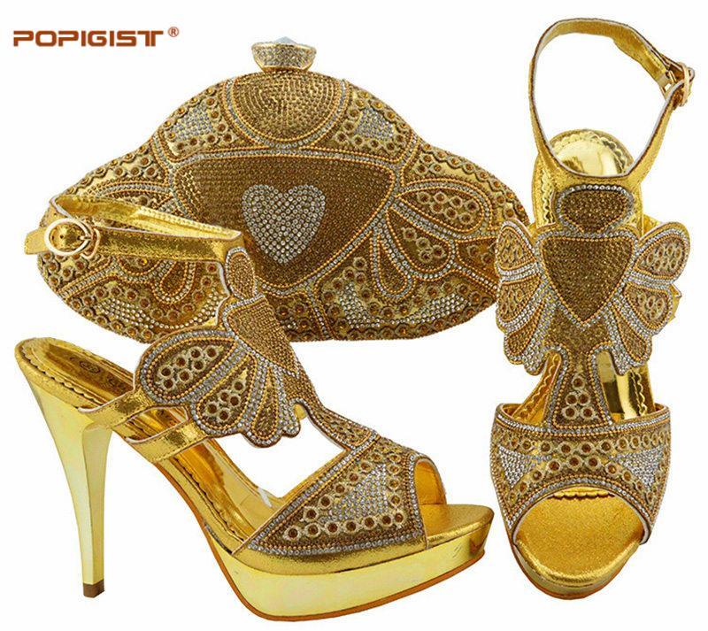 8ea9364e75b Compre Dulces Zapatos Italianos De Color Dorado Y Cristal Con Bolsos A Juego  Conjunto De Zapatos Y Bolsos Para Mujer De Tacón Alto Africano Para Fiesta  A ...