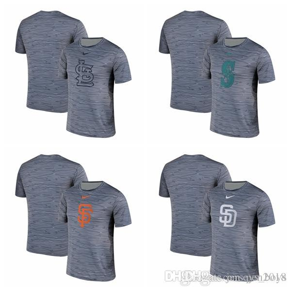 Camiseta de rendimiento para hombre St. Louis Seattle San Francisco San Diego Giants Padres Mariners Cardinals Gray Black Striped Logo Performance
