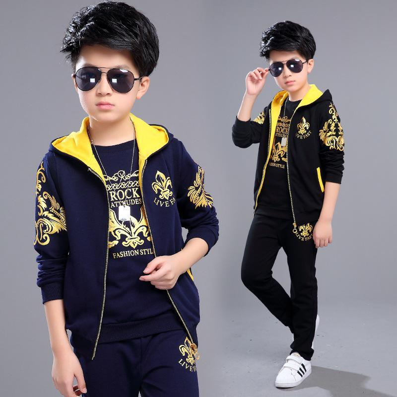 c25335fd68f2 2019 Boys Clothing Set For Big Kids Hooded Vest Jacket T Shirt Pant ...