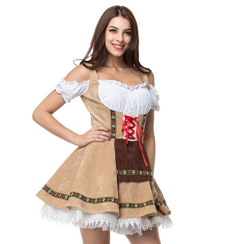 Compre Talla Grande Vestido De Mucama Alemán Mujeres Dirndl Vestido Cosplay  Oktoberfest Cerveza Chica Wench Disfraz Etapa Jugar Mini 2018 A  27.37 Del  ... 02bd574cc38