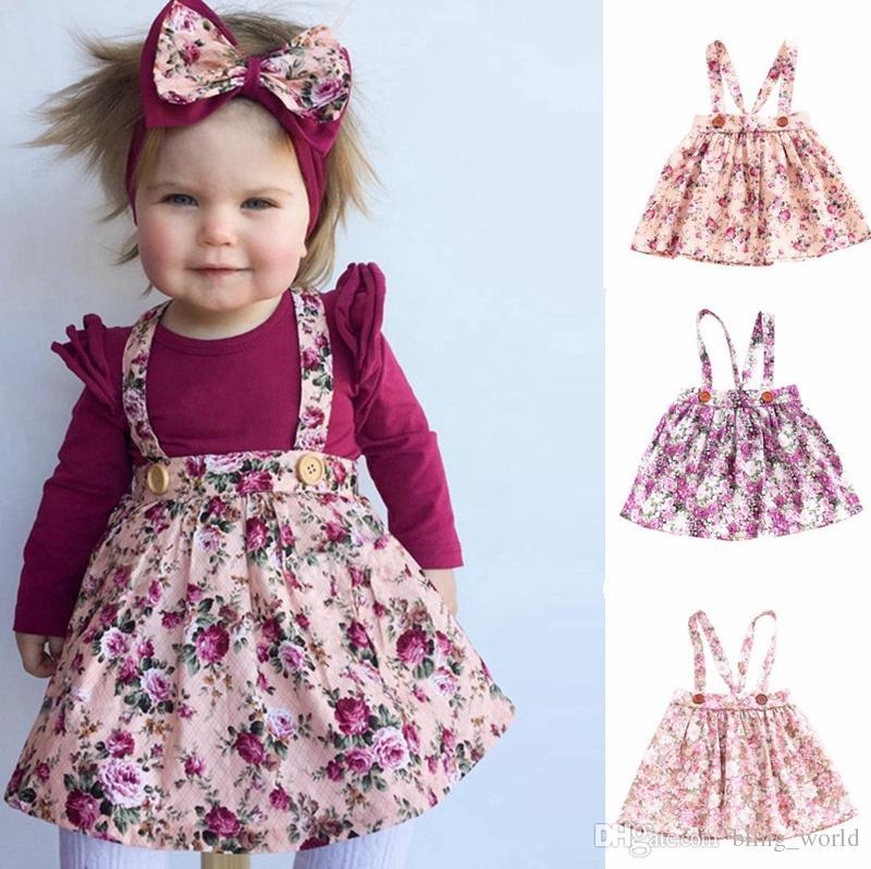 614be355cea0 Baby Straps Skirt INS Floral Girls Skirts Princess Suspender Dresses ...
