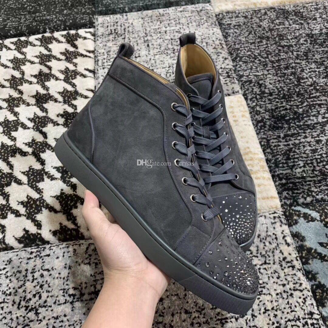 Calidad perfecta Original a estrenar High Top Cristales zapatos inferiores rojos zapatillas de deporte de los hombres zapatos de cuero de ante gris