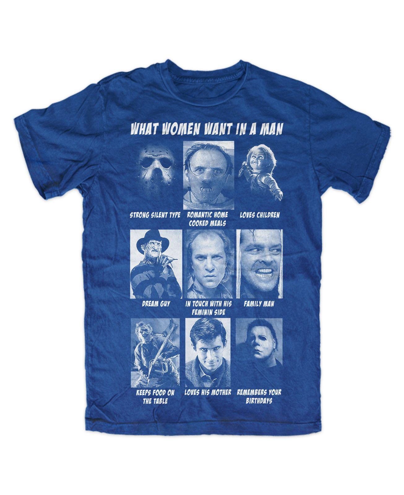 cbb9dd3fa6 What Women Want T Shirt Royal Movie,Jason,Freddy,Horror,Fun,Kult,TV,Chucky,Bad  Crazy T Shirts Designs Ridiculous T Shirt From Kihalhabib, $10.85|  DHgate.Com