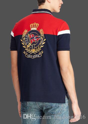 클래식 새 스타일 여름 남성 스트라이프 폴로 셔츠 뉴욕 RL면 짧은 소매 캐주얼 패션 폴로 USA 레이싱 T 셔츠 네이비 블루 레드