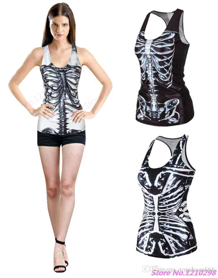 5db0ffa1299 2019 Black Skeleton Sports Tank Tops 3D Print Bone Skulls Yoga Shirts  Sleeveless Sexy Women Workout Fitness Camisole Summer Singlet  295682 From  Topshoes666 ...