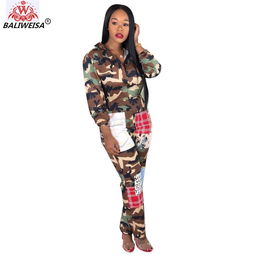 5bc51391baae 2019 BALIWEISA New Women Bodysuit Autumn Spring Winter Hooded Long Sleeve  Camouflage Plaid Patchwork Jumpsuits Printed Rompers Pants From Undervivi