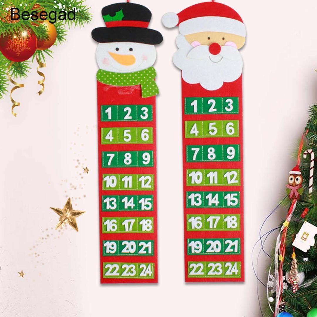 Calendario Conto Alla Rovescia.Behogar Carino 24 Giorni Di Conto Alla Rovescia Per Albero Di Natale Calendario Dell Avvento Porta Appeso Al Muro Decorazioni Del Festival Di Natale