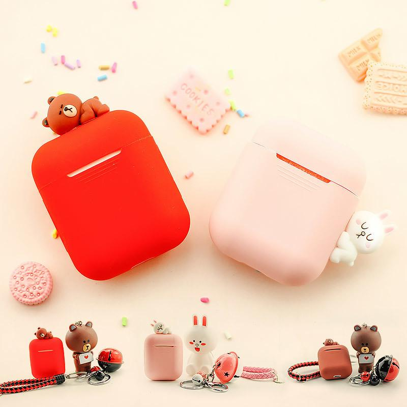 100% authentic f456a dd24f Protect Case For Apple Airpods Airpod Accessories Cute Special 3D Bear  Animal Case Cover with Lanyard Anti-dust Decoration Gifts C19011001
