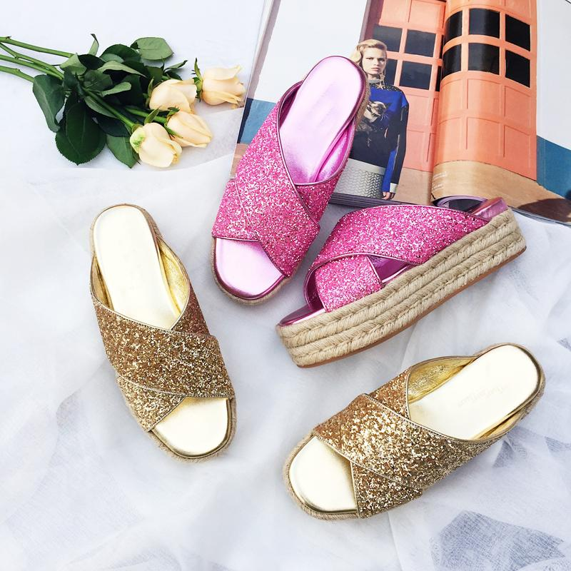 e774a42ac Woman Shoes Sequined Cloth Open Toe Woman Flats Summer Beach Outdoor Bling  Bling Platform Shoes Chic Lady Runway Brand Slippers For Women Cheap Shoes  For ...