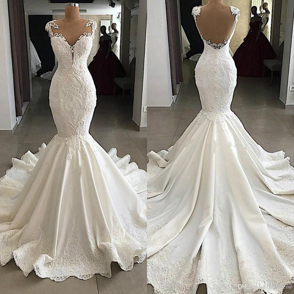 Mermaid 2019 Vintage Wedding Dresses Sheer Scoop Neck Lace