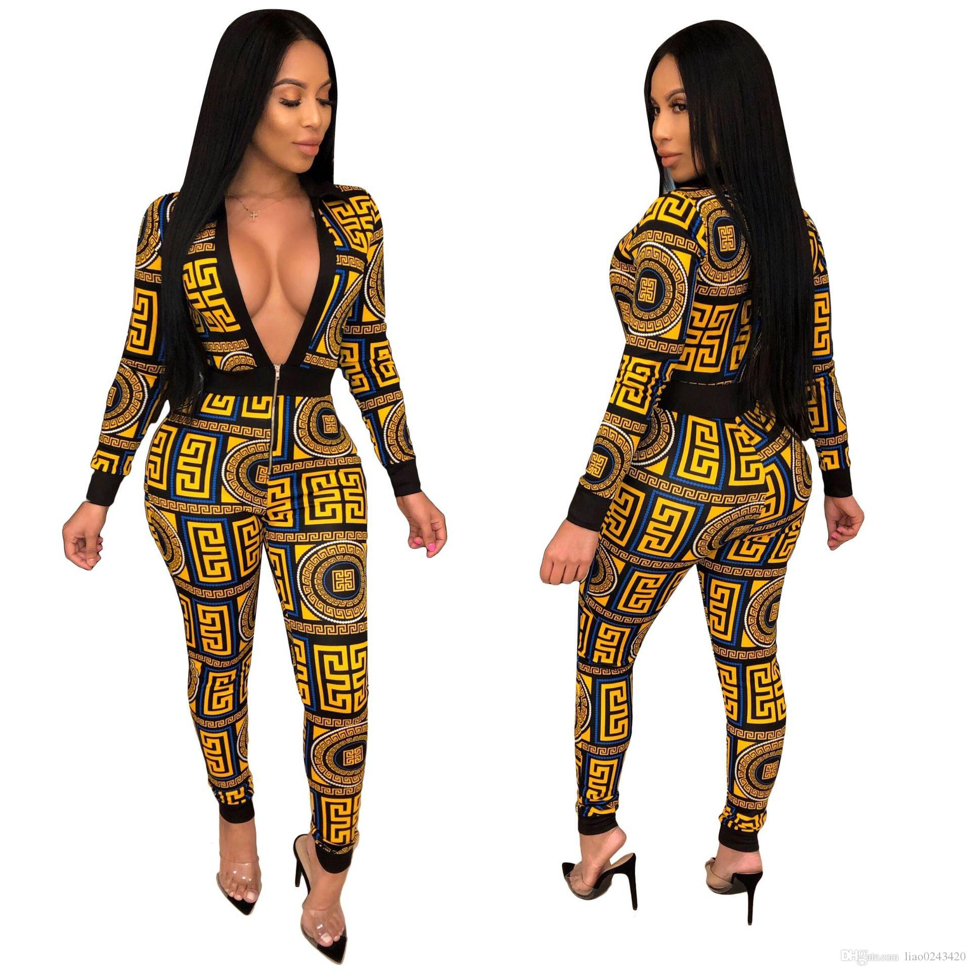 f4facb4cd1 Freies Schiff 2019 Neue Frauen Sexy Zipper Neck Print Engen Overall  Strampler Dame Hohe Taille Lange Overall Club Wear