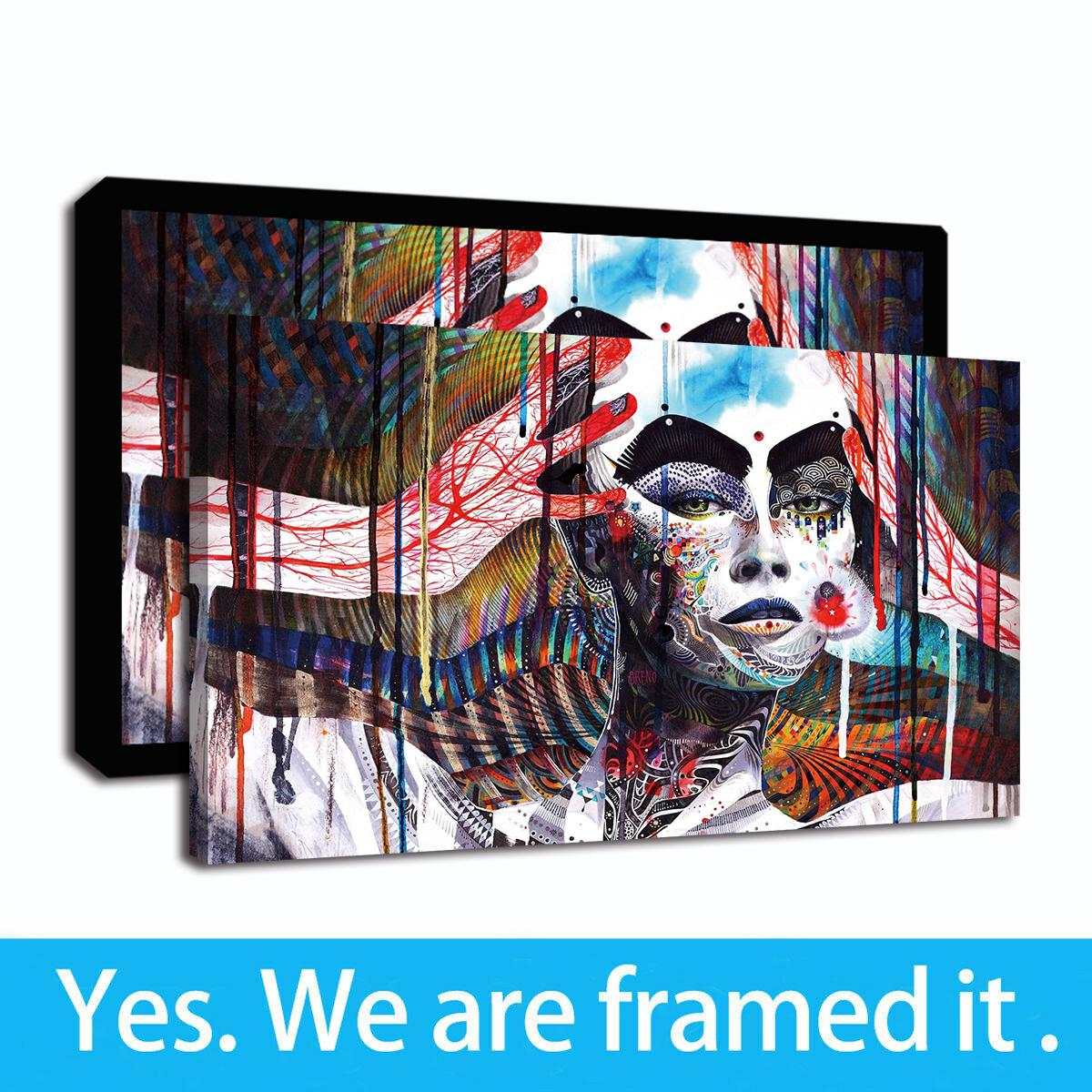 Photography Women Graffiti Mural Street Wall Abstract Picture Art Framed Canvas Wall Giclee Art Print Oil Painting on Canvas Home Decor