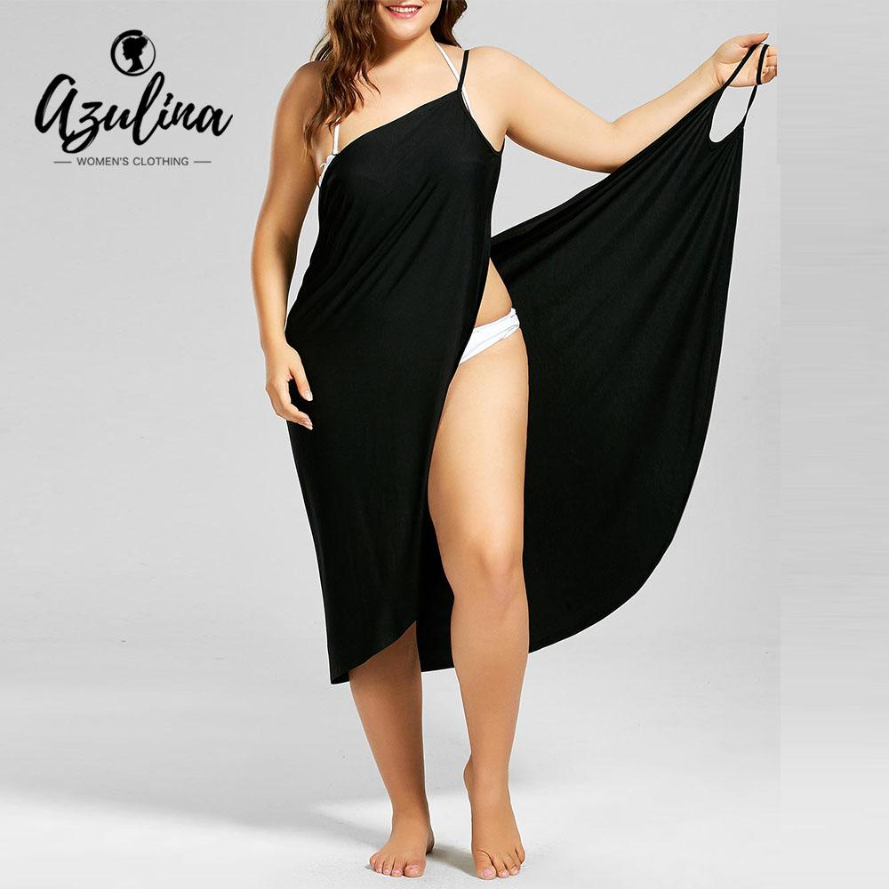 Rosegal Plus Size Beach Wrap Dress Summer Casual Dress Solid Color  Spaghetti Straps Cami Dresses Holiday Vestidos Big Size 5XL