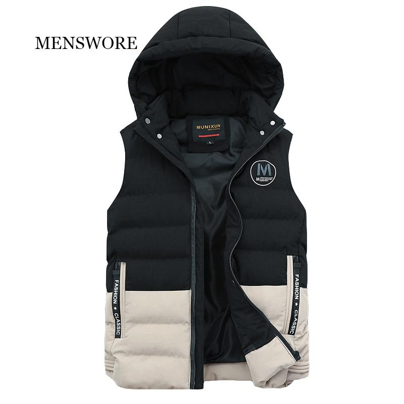 bc0a6d070 MENSWORE Men Band New Autumn Winter Hooded Zipper Vest Men Outerwear &  Coats Men's Casual Warm Vests Sleeveless Waistcoats