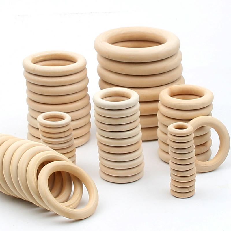 Fashion Jewelry 14 Size Quality Natural Wood Wooden Ring Diy Wooden Jewelry Making Crafts Connectors Circles Rings Beads