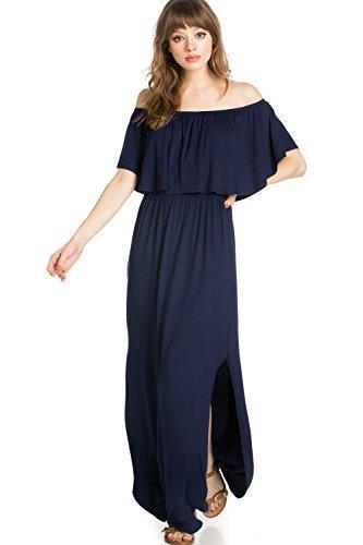 e78e38e759 RED STITCH Women's Ruffle Off-Shoulder Jersey Maxi Dress w/Side Pockets