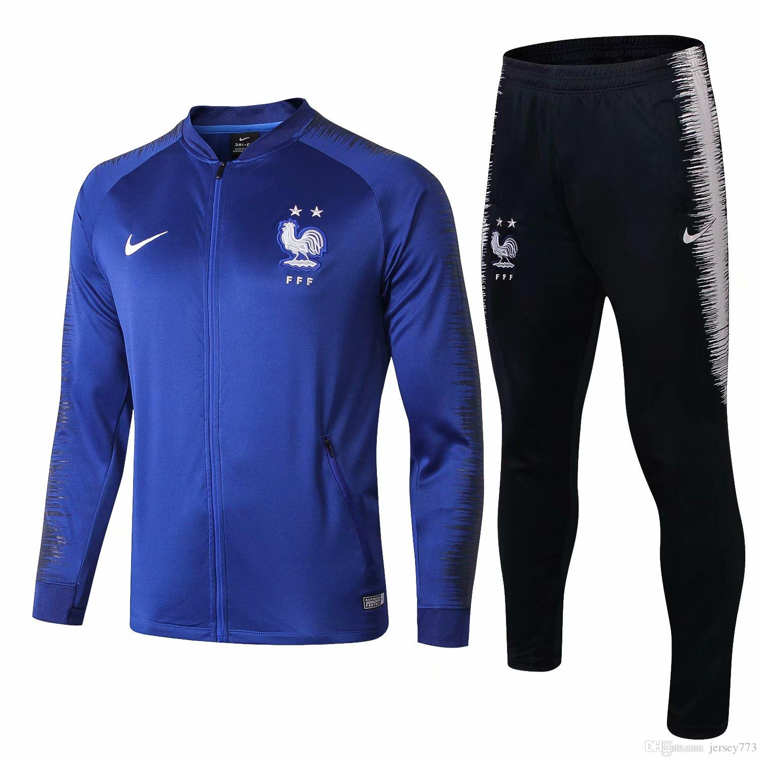Zipper Tracksuit French 2018 19 Soccer Tracksuit Football Jacket Training Suit Adult Football Outfits Zip Jackets Pants Set Sweater 19GG
