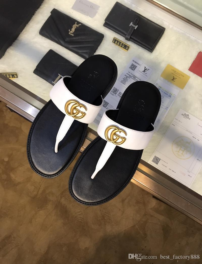 cc6a109c6 Hot sale in 2019 summer man casual flip-flops true leather fashion golden  'G' decoration best quality flat slippers size 38-45