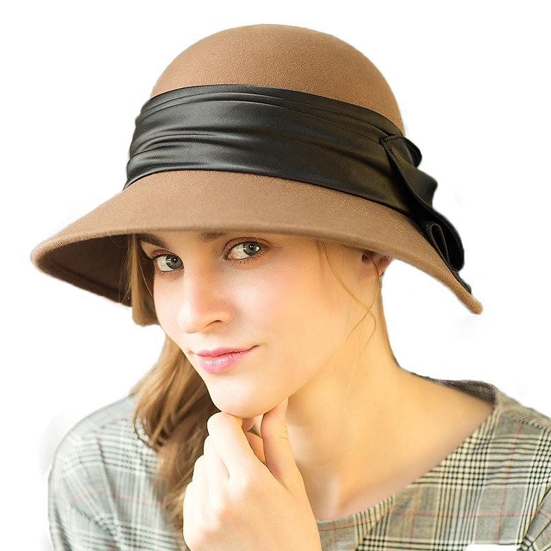 cfc0131948b 2019 100% Wool Cloche Hat For Women Ladies Floppy Felt Fedora Bow Khnot  Bowler Hats Dresses With Feathery Belt Cap M136 From Wonderliu