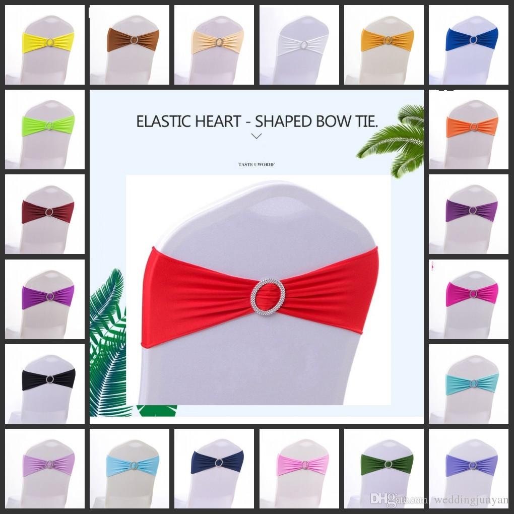 Stretch Spandex Sequins Chair Band Sash Tie Cover Wedding Party Sashes Bow Decor