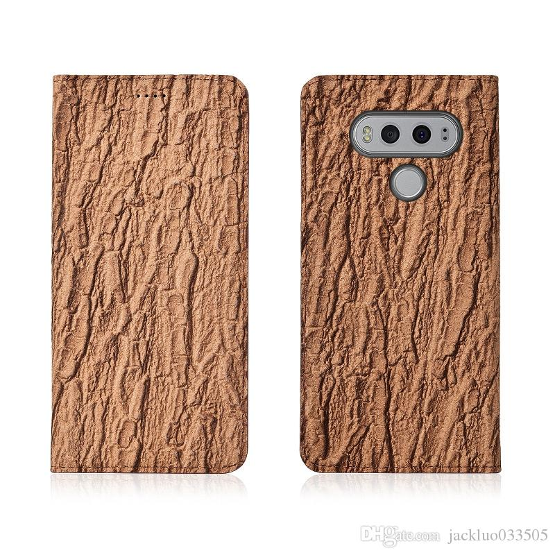 factory price a16fa 18b75 Bark Pattern Genuine Leather Flip Case For LG V20 Phone Case With Card  Holder For LG V20 Phone Bag With Kickstand