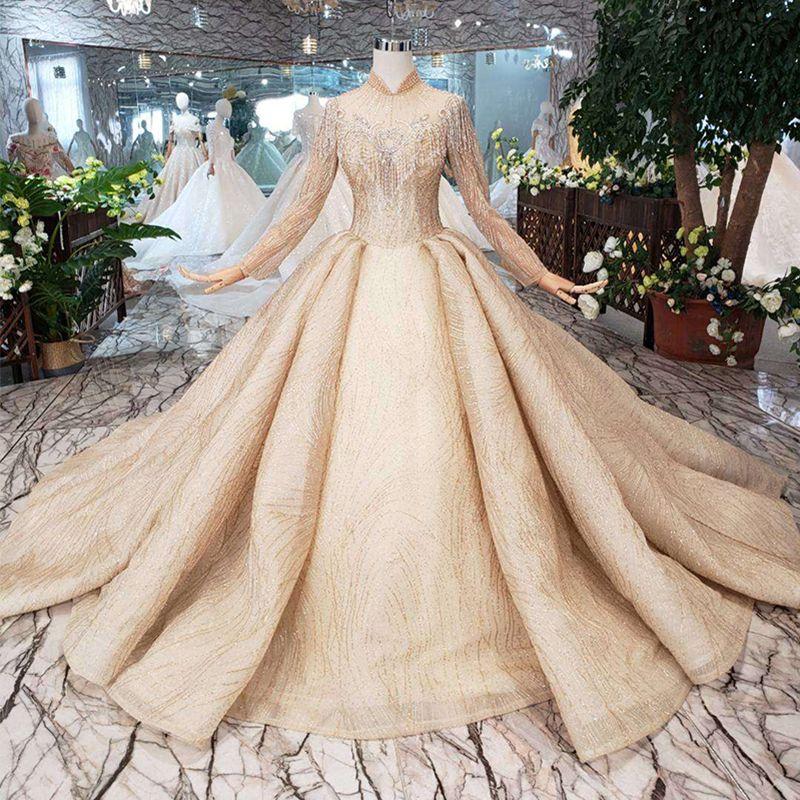 65837023c701 2019 Newest Design Dubai Wedding Dresses Long Tulle Sleeve Illusion High  Neck Tassel Wedding Gowns Crystal Beaded Garden Bridal Gowns Yellow Wedding  Dresses ...