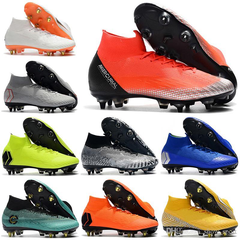 69301d48e2 Compre Novos Homens De Alta Tornozelo Futebol Botas Sempre Atacante CR7  Superfly VI 360 Elite SG Sapatos De Futebol AC Superfly Neymar ACC  Chuteiras De ...