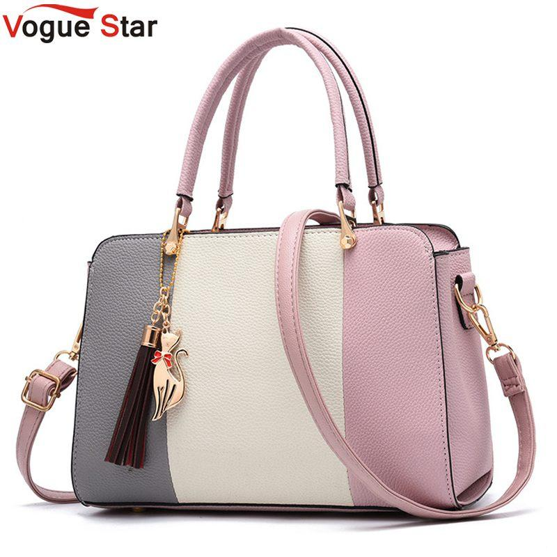 52bc6750f4887 2019 Summer Women Hit Color Leather Handbags Casual Tote Bags Crossbody Bag  Top Handle Bag With Tassel And Cat Pendant L67 Messenger Bags For Women  Leather ...