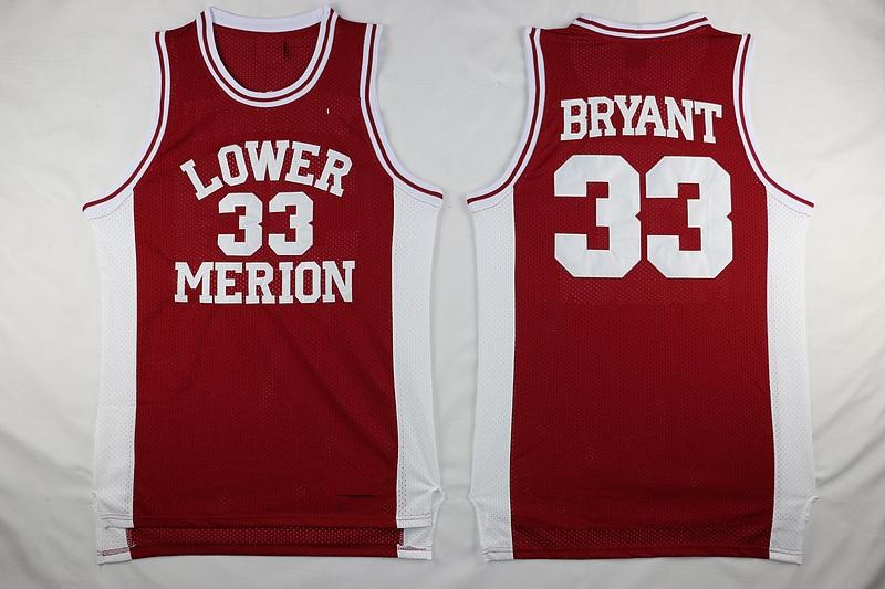 new arrival 103ed 0fe40 Mens Vintage 33 Kobe Bryant Lower Merion High School Basketball Jerseys  Cheap Kobe Bryant Stitched Shirts Red Black White Free Shipping
