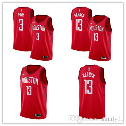ab8c90367 13 James Hardens 3 Chris Pauls Houston Men S Rockets 2018 19 Swingman  Basketball Jersey Red Earned Edition Prom Suits 2015 Suits For Prom From  Sunguniang