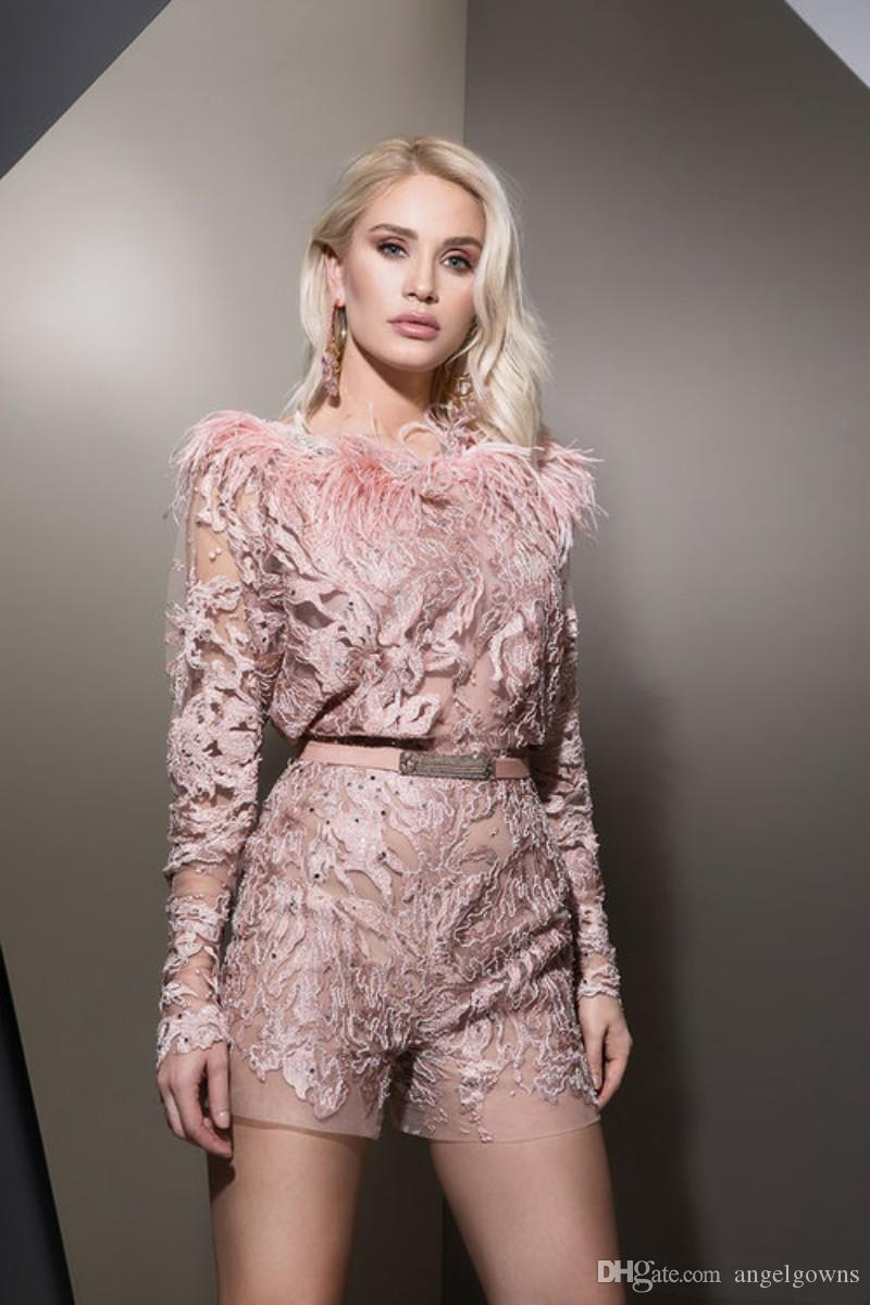 2019 Designer Light Pink Feather jumpsuit Prom Dresses With Long Sleeve Lace Applique Beads Illusion Short Homecoming Cocktail Party Dress
