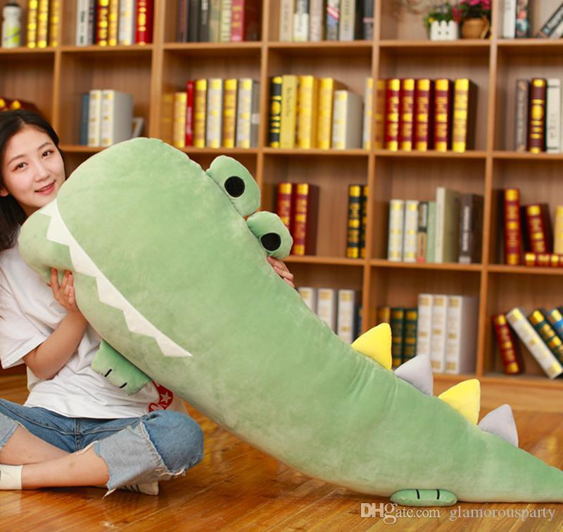 cuddly soft cartoon crocodile stuffed toy animals alligator sleeping long pillow plush doll for children girl gift 55inch 140cm