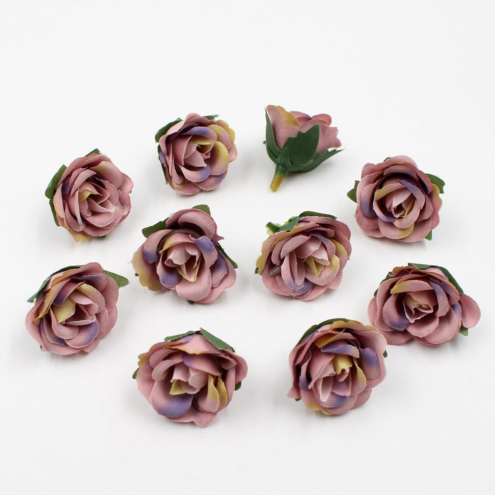 20pcs/lot artificial flowers 3.5cm mini silk rose head Valentine's Day wedding decoration DIY Flower wall gift box craft flowers C18112601