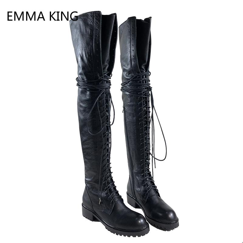 e4e431275272 New Women Over The Knee High Boots Straps Thick Heels Flats Knight Booties  Round Toe Zipper Fashion Show Thigh High Boots Ladies Mid Calf Boots Womens  Ankle ...