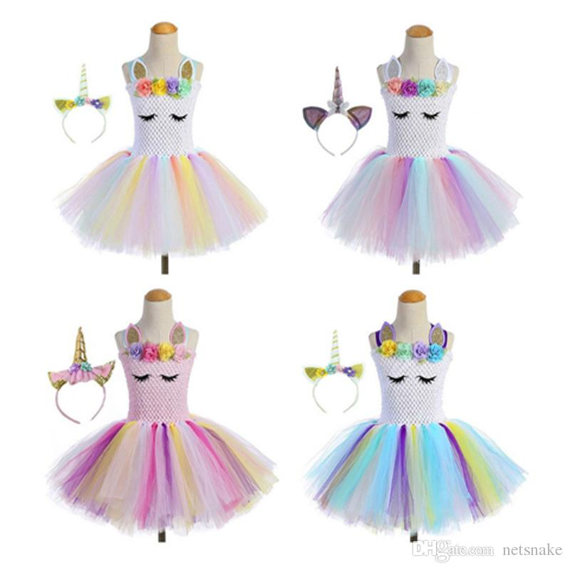Hot product unicorn party girl tutu skirt dance summer costume for kids toy kids dress and headdress together
