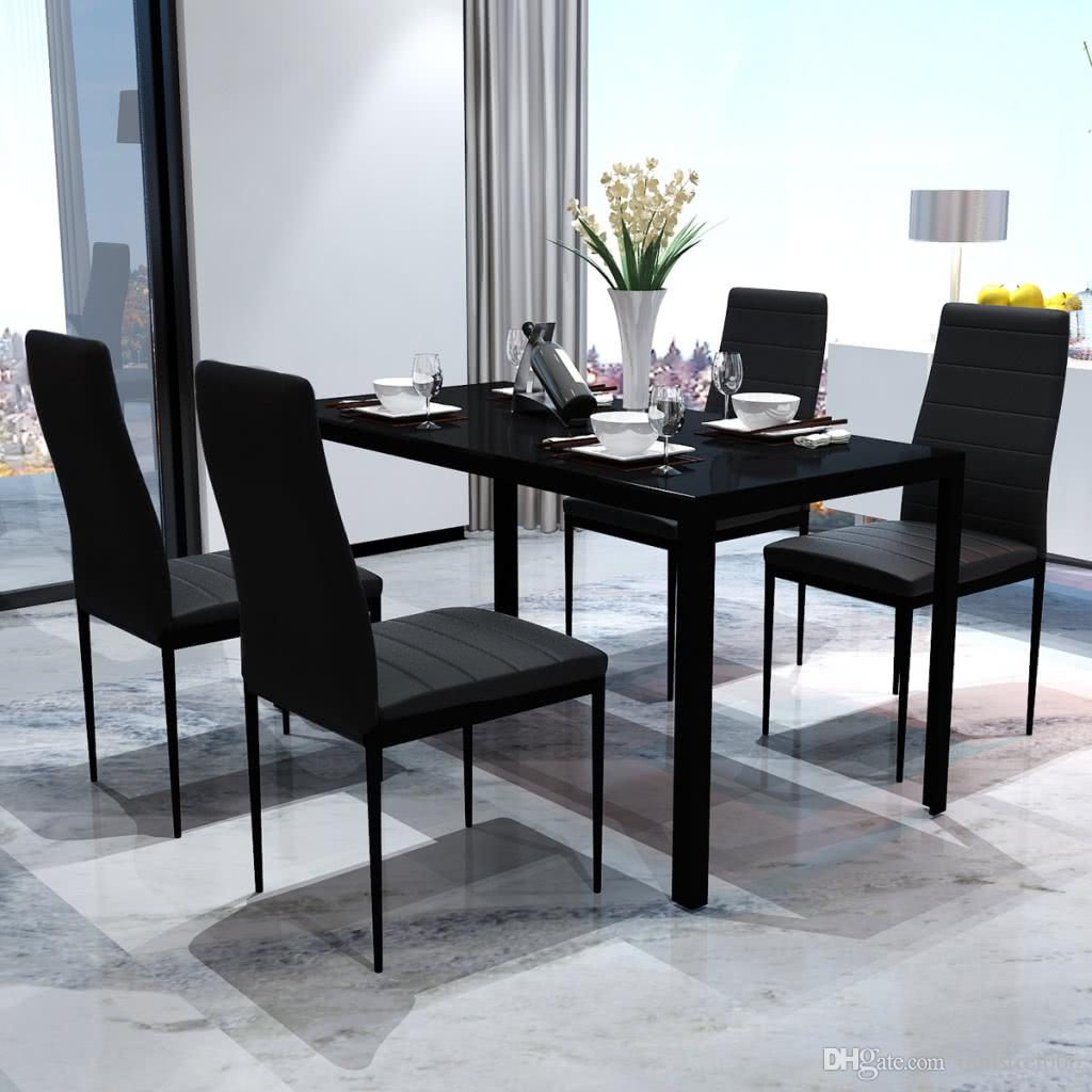 Ensemble De Salle A Manger Contemporain Avec Table Et 4 Chaises Noir