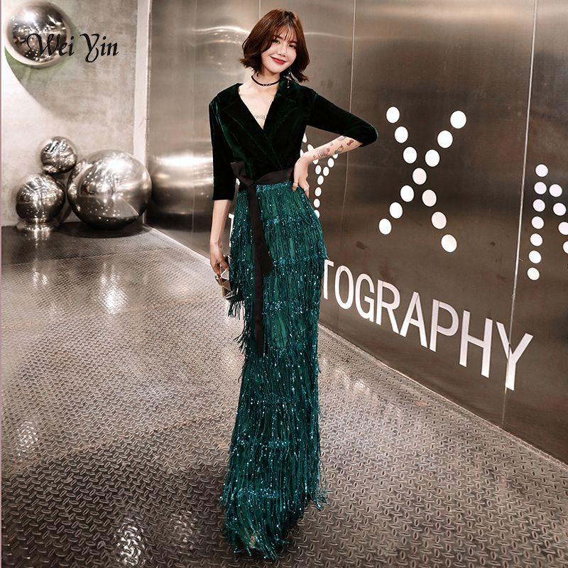 9a2120f44a783 Weiyin Green Velvet Evening Dresses Long Mermaid V-neck Formal Dress  Sequined Abendkleider Women Robe De Soiree Longue Wy1262 Y19042701