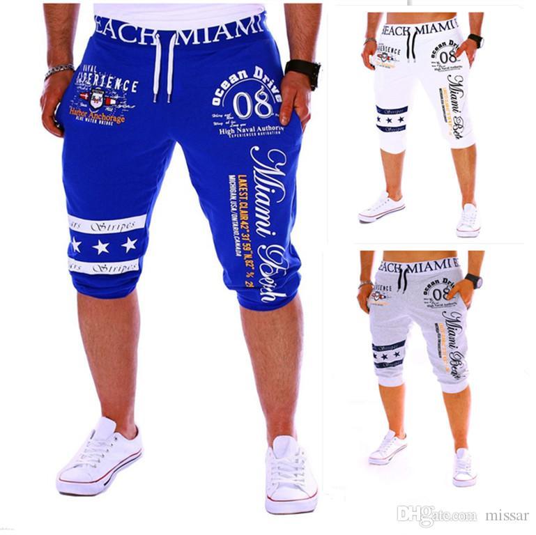 Mens Gym Shorts Sport Pants Loose Trousers Streetwear Casual Waist Imprint Hip Hop DK11