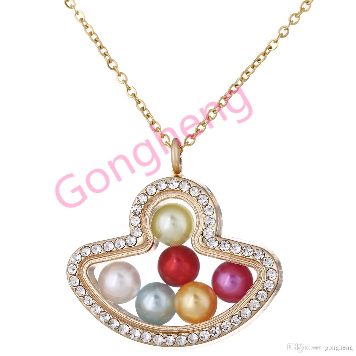 "G1442 Fan Pearl cage Gold Colort With Rhinestone Magnetic Glass Floating Locket Pendants Women Charms 20"" Necklace"