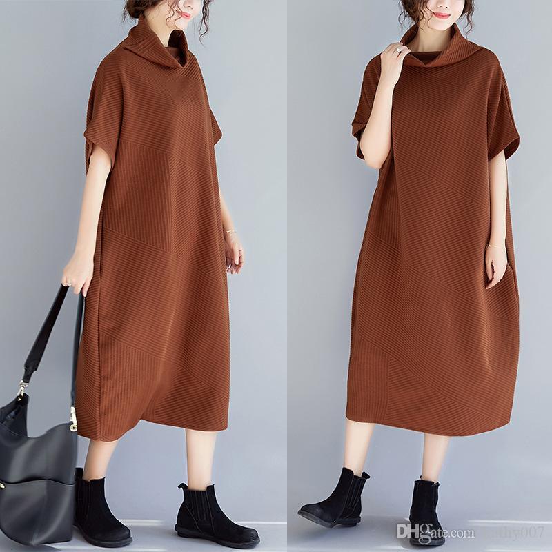 Abito donna primavera abito lungo in lino Plus Size Abito donna abito manica corta patchwork Irregolare a righe Turtlneck Vestido Tute in maglia