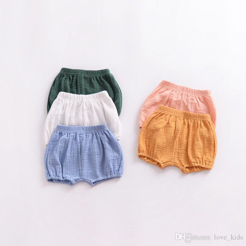 3-8T Baby shorts summer bread pants linen pure color bedding bloomers summer hot sale pp short pants