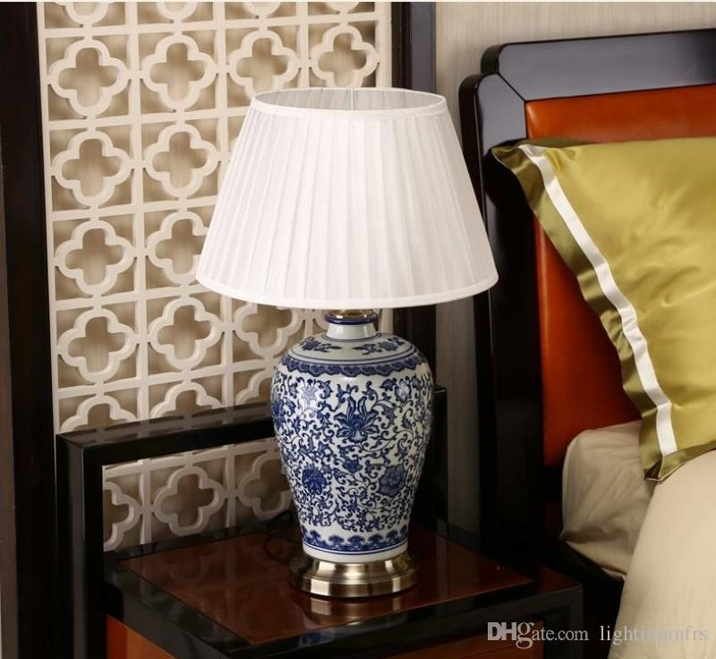 Chinese Blue and White Porcelain Desk Lamps Modern Dimmable China Flower Reading lamp Home Indoor Bedroom Living Room Bed Side Table Light