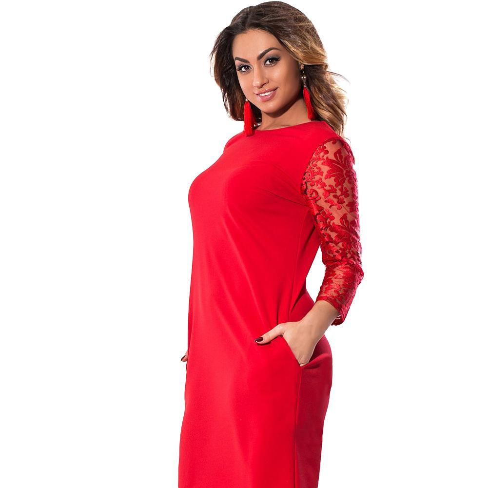 8af751ba684 Women 5XL 6XL Plus Size Dress Sheer Floral Lace Three Quarter Sleeve OL Midi  Dress Pocket OL Big Size Elegant Office Partywear Red Evening Dress  Dressess ...