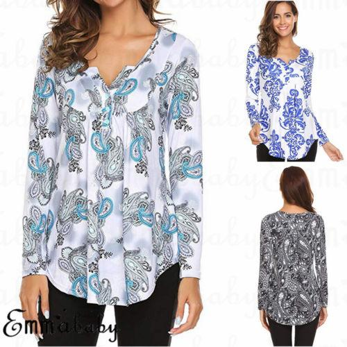 New Women Tunic Tops Button Printed Loose Long Sleeve Casual Shirt Blouse Plus