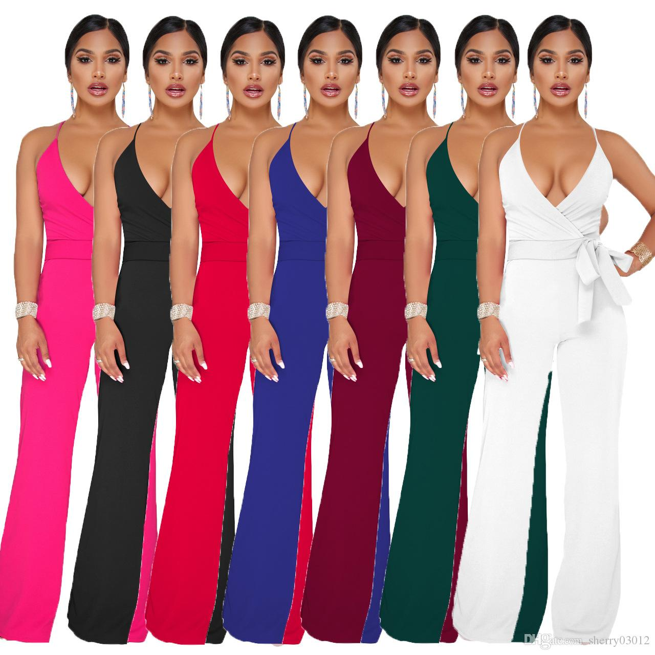 6175f94601 2019 2019 New Summer Women S Jumpsuit Sleeveless Solid Color Sling V Neck  One Piece Wide Leg Pants Sexy Spaghetti Strap Street Hipster Jumpsuit From  ...