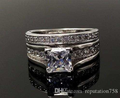 2018 Wedding Ring Set Anniversary Ring Princess Square Purple Cut