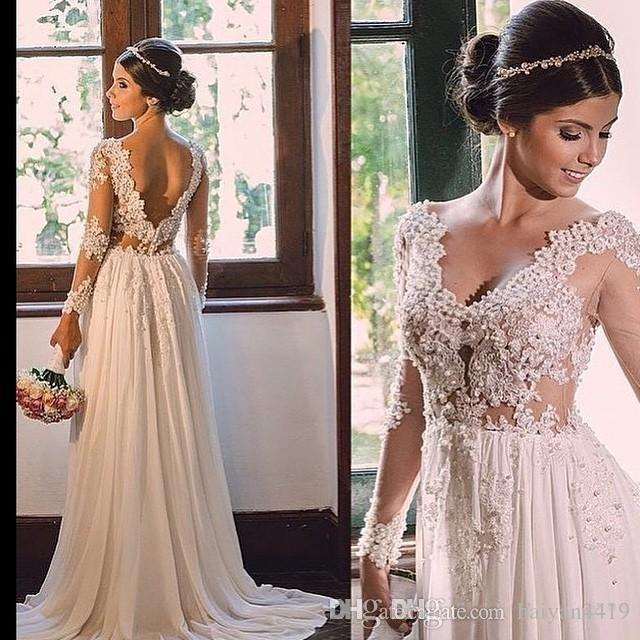 Formal Wedding Dresses.Beach Summer A Line Wedding Dresses V Neck Long Sleeves Lace Appliques Beaded Open Back Sweep Train Plus Size Formal Bridal Gowns